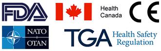 Regulatory approvals include FDA, European CE mark, TGA Australia, Health Canada