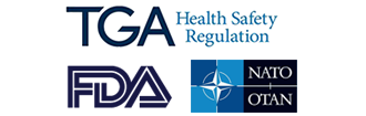 Regulatory approvals include FDA, TGA Australia, NATO OTAN