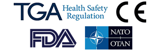 Regulatory approvals include FDA, TGA Australia, NATO OTAN, CE