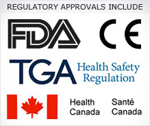 Regulatory approvals include FDA, European CE mark, TGA Australia, Health Canada
